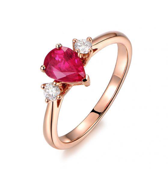 Bague Amour. Or rose, rubis 1ct taillé en poire, diamants