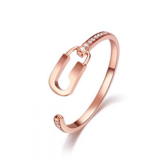 Bague cadenas Or rose 18cts. Diamants 0.070ct