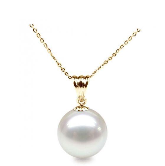 Collier une perle blanche. Pendentif or jaune