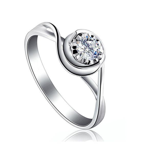 Solitaire anneau ensorcelé - Or blanc 18cts et diamant 0.20ct   Gemperles