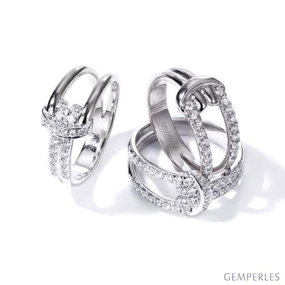 Bague Noeud Marin Or Blanc, Diamants | Gemperles