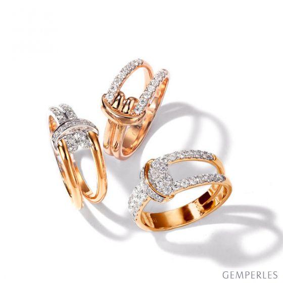 Bague Noeud Marin Or rose, Diamants | Gemperles