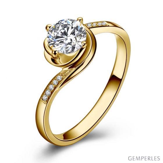 Bague de Fiancailles Rose Vertige - Solitaire Or Jaune, Diamants 0.35ct | Gemperles