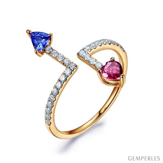 Bague Autre moi Or jaune. Diamants. Tourmaline, tanzanite