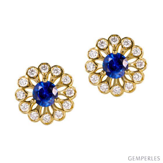Boucle d oreille bleu de Médicis - Saphir, or jaune, diamant