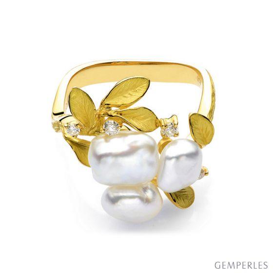Bague Secret Flower 2nd en perles d'Australie baroques - 2