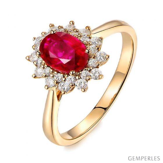 Bague rubis Or jaune. Double pavage diamants. Inspiration florale
