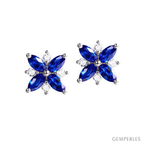 Boucle oreille fleur saphir bleu, diamant, or blanc - Véronique des ruisseaux