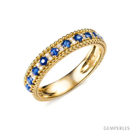 Anello Veretta Tempietto - Oro Giallo, Mezzo Giro di Zaffiri & Diamanti