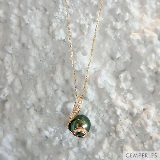 Pendentif écharpe diamantée - Perle de Tahiti noire, bronze - Or jaune