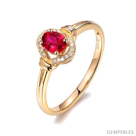 Bague rubis Chérie diamants et Or jaune 18cts