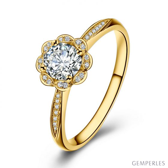 Bague solitaire diamants or jaune - Jasmin étoilé