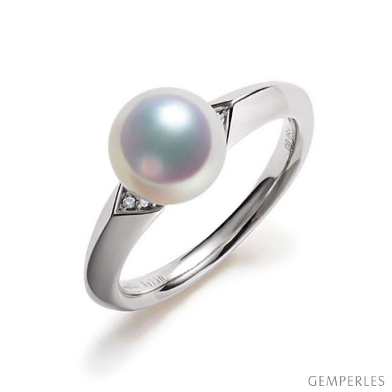 Bague Tsuguka - Or blanc, perle Akoya, diamant   Tsuguka
