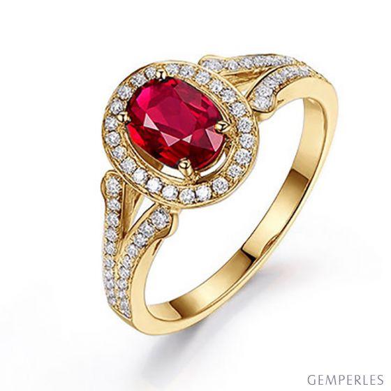 Bague Mogok, rubis de Birmanie.  Or jaune et diamants | Mogok