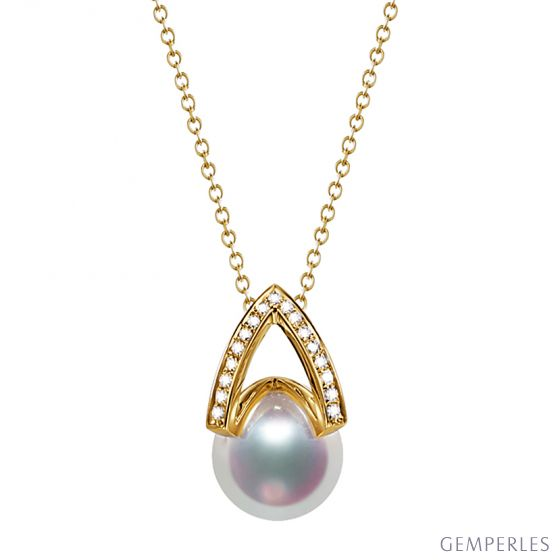 Pendentif perle Akoya Japon. Diamant, Or jaune I Masako