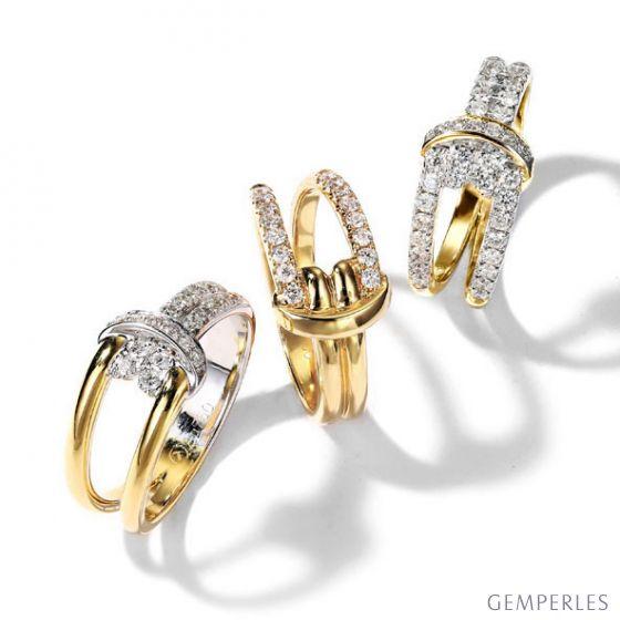 Bague Noeud Marin Or jaune, Diamants   Gemperles