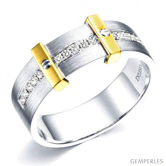 Bague pour homme barrée de diamants - 2 ors jaune et blanc - 2