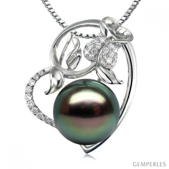 Pendentif rose forme coeur - Perle de Tahiti - Or blanc, diamants pavés - 2