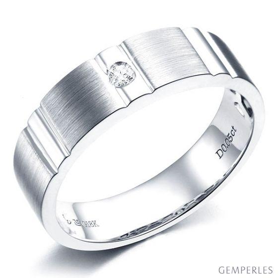 Bague dentelée pour homme or blanc brossé et poli 18 carats, Diamant | Hamlet