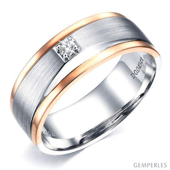 Bague Homme. Or blanc & rose 18cts, Diamants 0.045ct | Richard