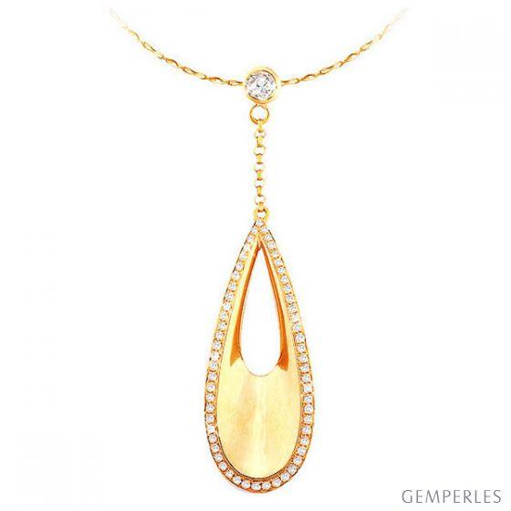 Pendentif Eau - Bijou poétique et créatif en or jaune et diamants
