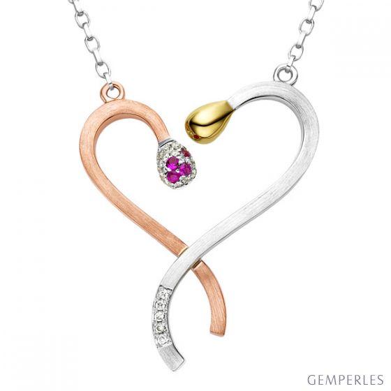 Collier pendentif 3 Ors - 2 allumettes courbées - Diamants, rubis