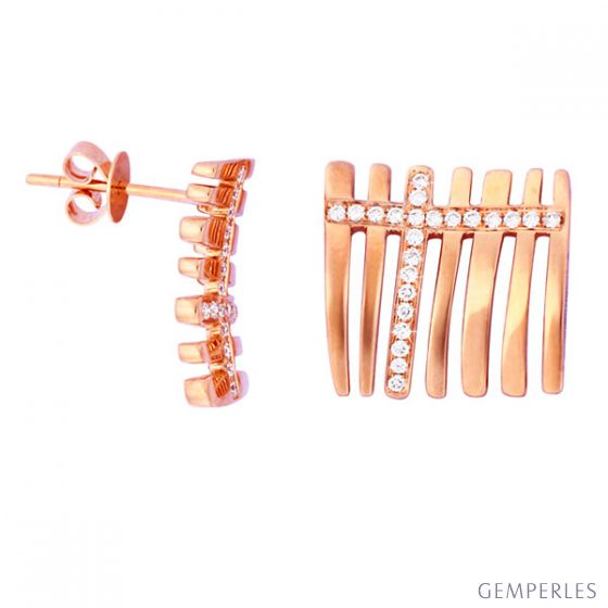 Boucles oreille diamants - Barrettes or rose 18 carats - Mer océane