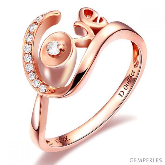 Bague Love - Bague or rose originale 18cts - Diamants 0.095ct