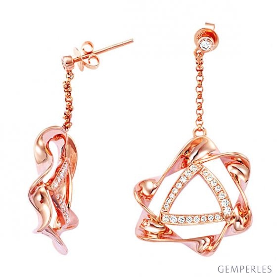 Boucle d oreille étoile - Pendants oreilles étoilés or rose diamants