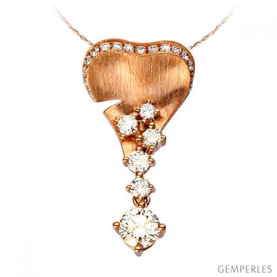 Ciondolo - Oro rosa 2.15gr - Diamanti 0.580ct