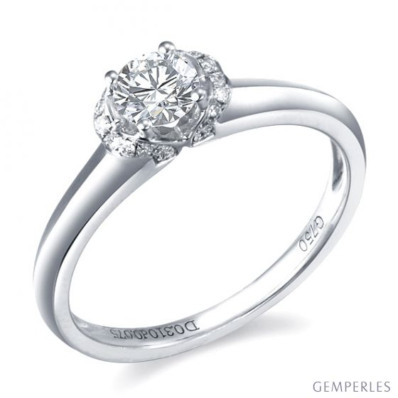 Solitaire or - Bague or blanc pourtour en diamants 0.385ct