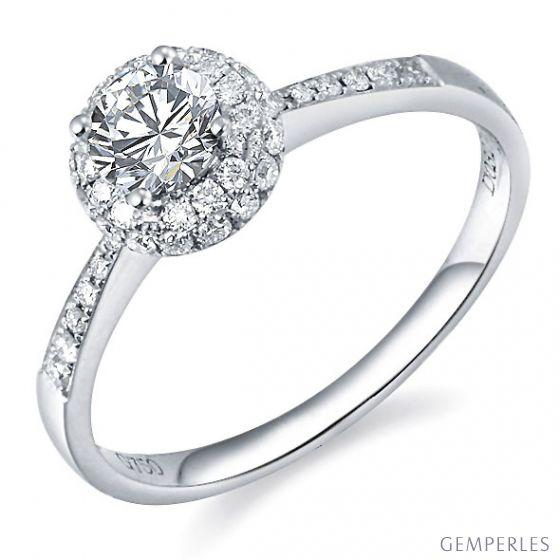 Solitaire bague de fiancaille - Or blanc 18cts - 51 Diamants 0.58ct | Gemperles