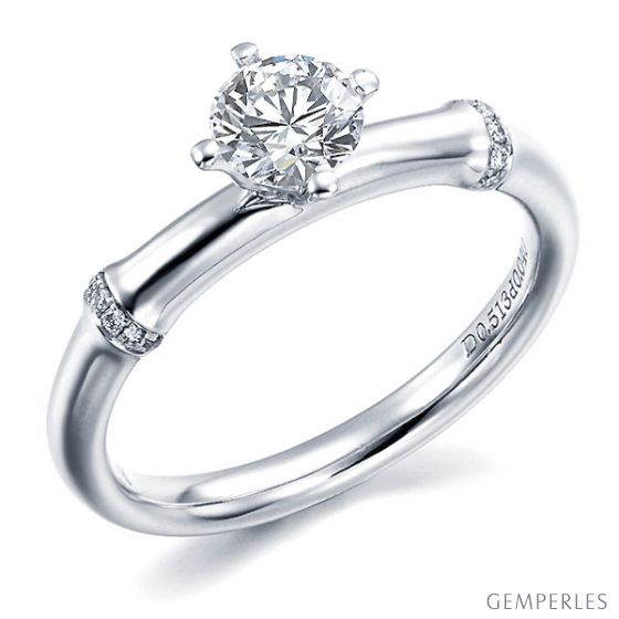 Bague Solitaire Bambou Végétal - Or Blanc & Diamants 0.59ct | Gemperles