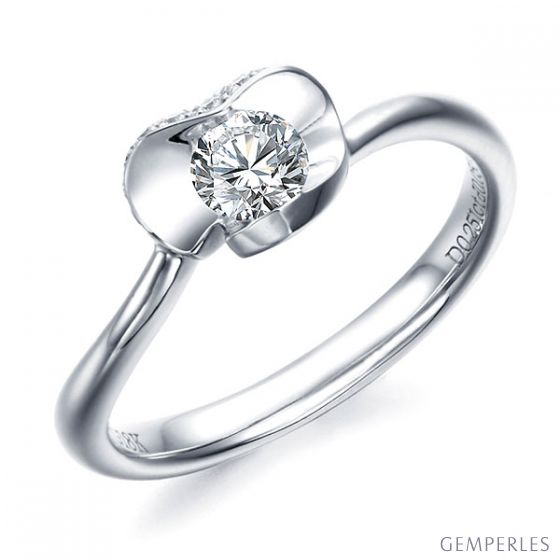 Bague Solitaire Dalida -  Or Blanc Diamants - Fleur Stylisée Pétales Coeur | Gemperles