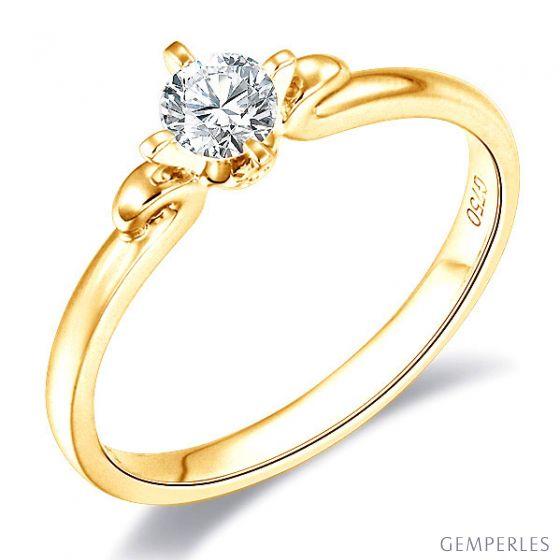 Solitaire or diamant - Bague fiancaille or jaune - Diamant griffes