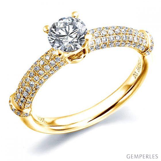 Solitaire Bambou Prestige - Bague en Or Jaune & Diamants 0.97ct | Gemperles
