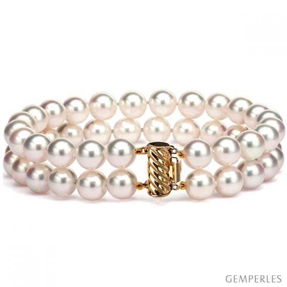 Bracelet 2 rangs perles Akoya - Perle mer - Culture Japon - 6.5/7mm