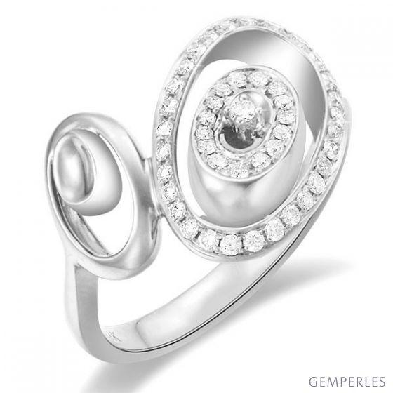 Bague Love - Bague moderne en or blanc - 45 Diamants de 0.283ct - 2