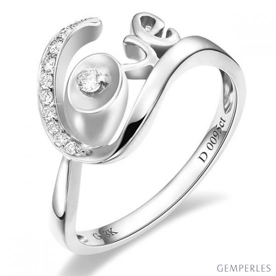 Bague Love - Bague or blanc originale 18cts - Diamants 0.095ct