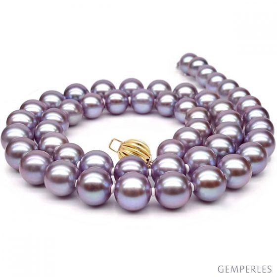 Collier perles lavandes. Perle culture eau douce 7.5/8mm
