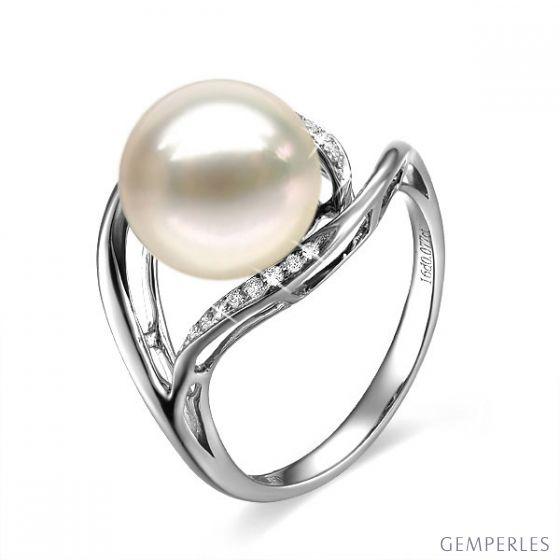 Bague femme perle - Or blanc, diamants - Perle de culture blanche