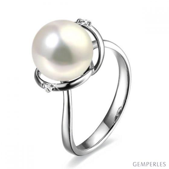 Bague or blanc style circulaire - Perle de culture - 2 diamants sertis