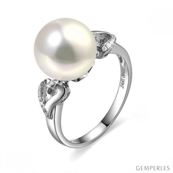 Bague coeur de perle diamanté - Or blanc et Perle d'eau douce blanche