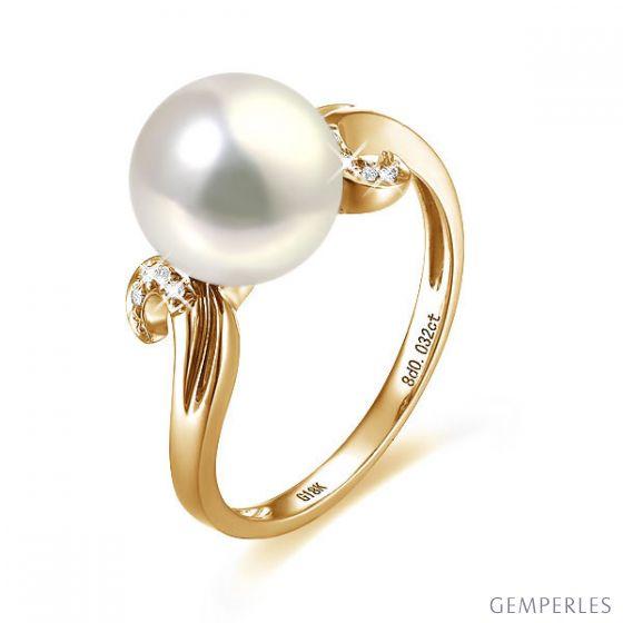 Bague note de musique - Perle de culture blanche, or jaune diamants