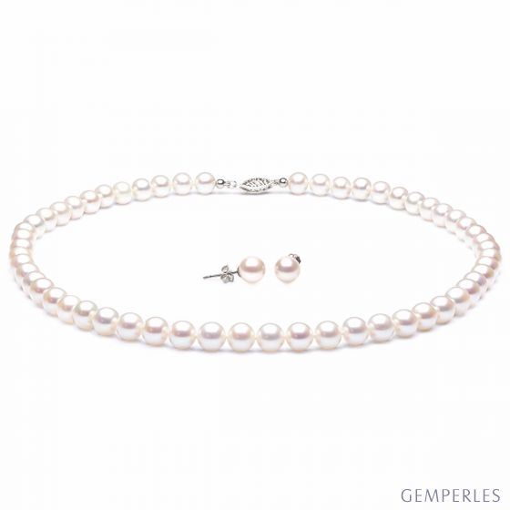 Parure Sublime I Collier & Boucles Perles Blanches AAA