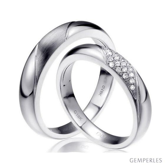 Alliances Duo - Or blanc - Diamants | Autour de moi