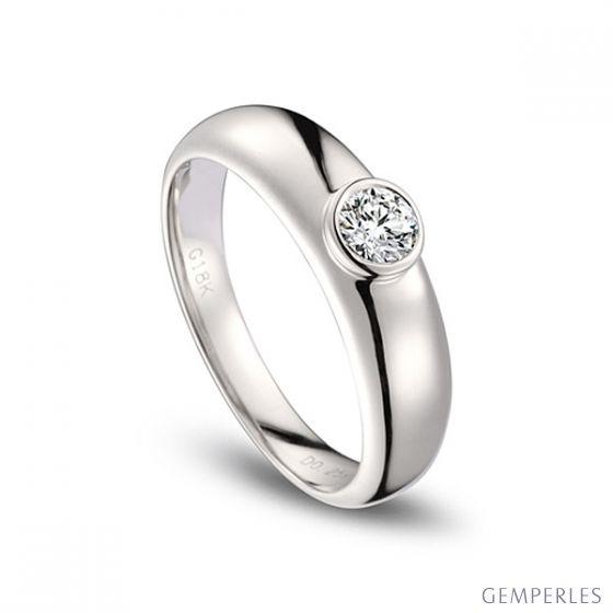 Alliance Homme. Or blanc. Diamant 0.30ct | Martens - 2