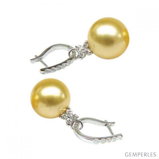 Orecchini Bayley - Oro Bianco e Perle dei Mari del Sud - 2