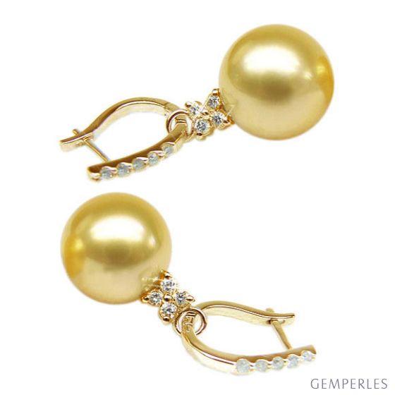 Orecchini Bayley - Oro Giallo e Perle dei Mari del Sud - 2
