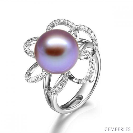 Bague fleur perlée - Pétales or blanc, diamants - Perle lavande chinoise